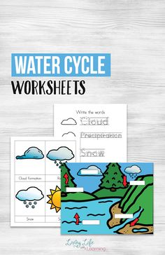 Show your kids they cycle that water goes through and how important it is as a resource for humans with these water cycle worksheets for kids. Learn how water evaporates, forms clouds and releases as rain. #water #science #watercycle #earthscience #homeschool