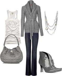 """""""gray"""" by rachelann34 on Polyvore May need a splash of color somewhere."""