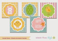 ♠ Kit Pascua. Kit imprimible Easter. Party Labels.