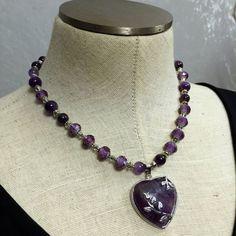 Genuine Amethyst Gemstone Beaded Necklace by VelvetCurtainDesigns