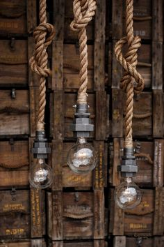The Machina - Industrial Pipe Rope Pendant Light - Caged Ceiling Hanging Lighting - Rustic Edison Bulb Statement Lamp - ==OVERVIEW== I love the look of black Iron combine with Manila rope and have been working on making - Rustic Kitchen Lighting, Kitchen Lighting Fixtures, Industrial Lighting, Industrial Pipe, Vintage Industrial, Vintage Lighting, Industrial Light Fittings, Industrial Interiors, Industrial Office