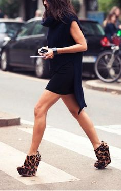 Leopard wedge done just right. Great statement black dress with minimal accessories.