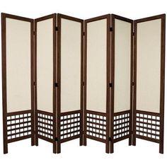 Oriental Furniture Window Pane 8-Panel Black Folding Indoor Privacy ...