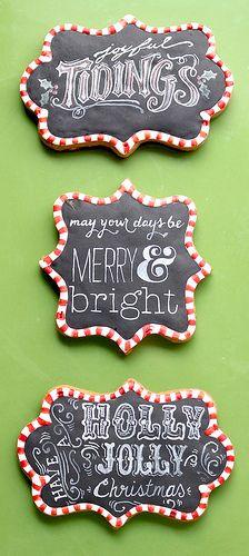 Christmas Blackboard Cookies using plaque cookie cutters