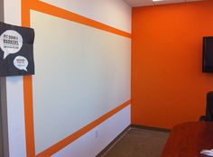 Ideapaint wall. love the pop of color. Paint the border on or just adhere painted molding right to the wall