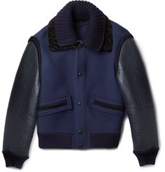 Burberry Prorsum Shearling-Trimmed Leather and Wool-Blend Bomber Jacket | MR PORTER