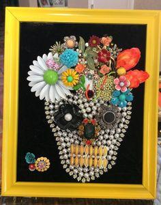 Vintage Jewelry Sugar Skull dias de los muertos Framed Art #nobrand