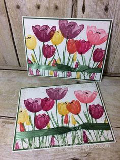 Easy Stamping with Tranquil Tulips Only one color per Tulips - Frenchie Stamps Flower Stamp, Flower Cards, Stamping Up Cards, Cute Cards, Greeting Cards Handmade, Homemade Cards, Making Ideas, Cardmaking, Birthday Cards