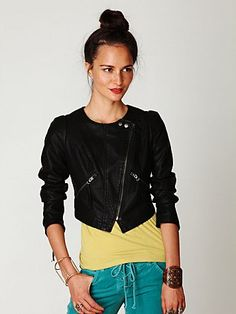 Free People- Double breasted vegan leather jacket