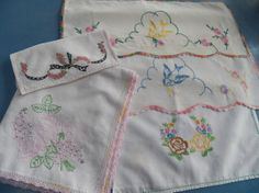 Vintage 1950 5 Piece Lot of Embroidered and by mainelyvintagestuff, $12.00