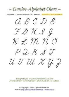 Cursive Abcd, Cursive Letters Worksheet, Best Cursive Fonts, Cursive Letters Fancy, Uppercase Cursive, Pretty Cursive Fonts, Cursive Writing Practice Sheets, Alphabet Writing Worksheets, Teaching Cursive