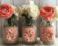 3 melocotón pálido y beige vintage encaje y arpillera mason jar floreros, boda, despedida de soltera, decoración de ducha de bebé