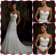 Stock White Ivory Lace Beaded Wedding Dress Bridal Gown Evening dress Size:6-16
