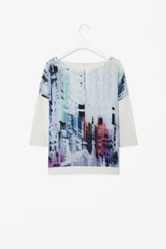 COS shirt, nice colors, work appropriate. Silk front printed top