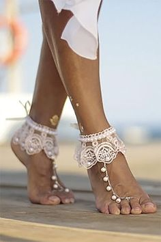 I love these feet jewelry barefoot sandals as an idea for the bridesmaids and the brides. Cute that they have a boho look but with the lace and pearls are elegant, too. Look for them as the third or fourth buy listing on the page. Barefoot Sandals Wedding, Boho Sandals, Bare Foot Sandals, Wedding Shoes, Wedding Lace, Summer Wedding, Dream Wedding, Lace Cuffs, Lace Weddings