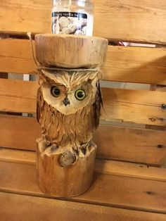 Owl Candle Holder Wood Carving