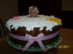 "girl baby shower cakes | 14"" Cake. Rolled butter cream fondant for the outside of tub flowers"