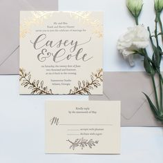 Gold foil #weddinginvitation - calligraphy and design by Ashley Buzzy Lettering and Press