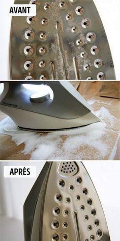 Le gros sel permet de nettoyer la semelle d'un fer à repasser