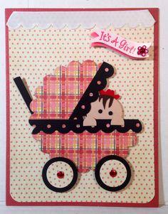 Baby stroller punch art handmade card by Wanda Perez