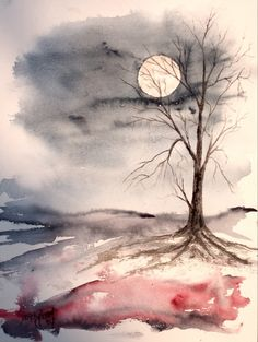 """A moonlit eve in the dead of winter"" - water color    ...BTW,Please Check this out:  http://artcaffeine.imobileappsys.com"