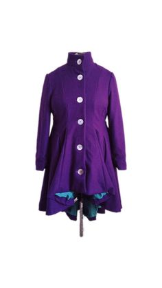Purple Wool High-Low Princess Wool Coat -- Made to Order