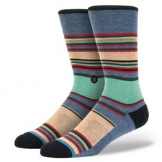 Unsimply Stitched Mosaic StripeCrew Sock Fits Size 8 to 13 Green Multi