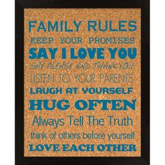 Family Rules Corkboard III