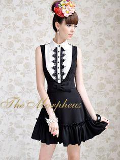 Morpheus Boutique  - Black White Lace Bow Vintage Style Pleated Dress, $89.99 (http://www.morpheusboutique.com/products/black-white-lace-bow-vintage-style-pleated-dress.html)