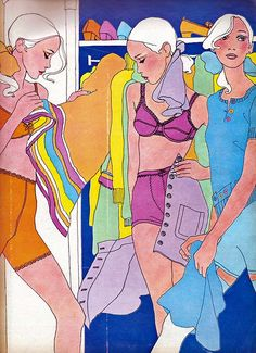 Elle May 67 - color lingerie spread  Illustrator: Antonio