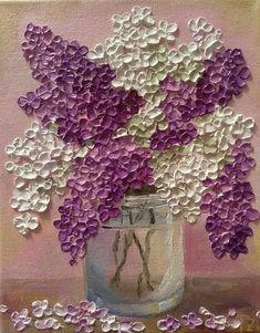 Púrpura y blanco lila en un recipiente de vidrio Original #OilPaintingKnife
