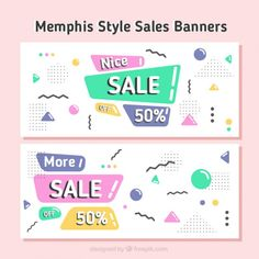 Sales banners in memphis design Free Vector