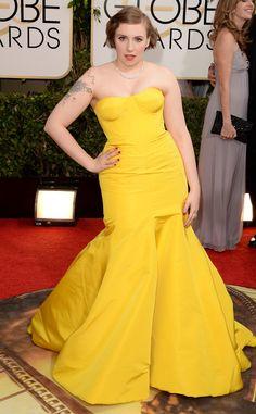 Lena Dunham from 2014 Golden Globes: Red Carpet Arrivals   E! Online
