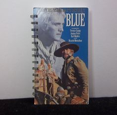 Recycled Notebook From Blue VHS Box Handmade by AWRecycledJournals