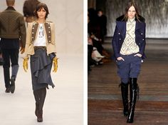 I love the outfit on the left...jacket and skirt?  Mais oui s'il vous plait!