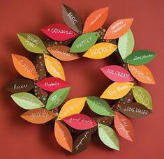 "Thanksgiving Wreath cute idea to make a family or kids ""thankful "" wreath! Thanksgiving Crafts, Thanksgiving Activities For Kids, Thanksgiving Decorations, Fall Crafts, Holiday Crafts, Holiday Fun, Crafts For Kids, Thanksgiving Meaning, Canadian Thanksgiving"