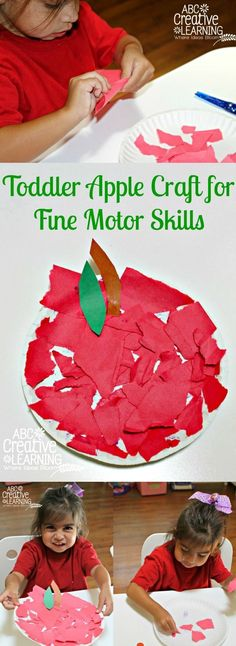 Cool ripped paper collage apple craft for preschool kids.