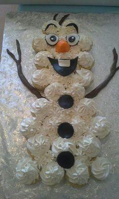 Olaf cupcake cake