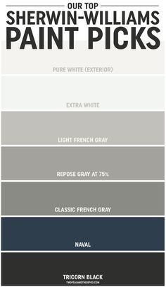 grey exterior house colors When Maria and Josh built a new home, choosing the paint colors was, at first, overwhelming. But along the way they learned a thing or two, and they're sharing their tipsand their top Sherwin-Williams paint picks. Exterior Paint Colors For House, Interior Paint Colors, Paint Colors For Home, Exterior Colors, House Siding Colors, Grey Siding House, Outside House Paint Colors, Navy Paint Colors, Exterior House Colors Combinations