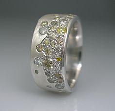 Cognac, Champagne & White diamond ring by Danielle Sweeney Design