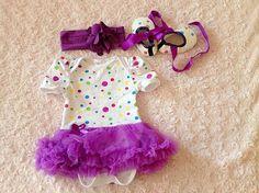 Violet pois Baby Girl Body barboteuse Set Polka dots par Sister21