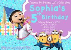 Minion Invitation Girl - Agnes Invitation - Despicable Me Invitation - Minion Party - Minion Birthday - Agnes party