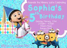 Minion Invitation Girl - Agnes Invitation - Despicable Me Invitation - Minion Party - Minion Birthday - Agnes party