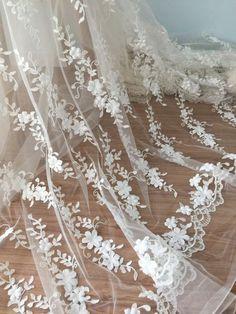 3D Haute-Couture-Spitze-Stoff mit Elfenbein für Brautkleid