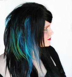 Could use clip-ins to get colour if dye hair a 'natural' shade dark  brown    22% OFF - DARK OCEAN Splash wig // Black Scene Emo Gothic Blue Green Streaked Hair -- Cyber Punk Cosplay Rock. $81.12, via Etsy.