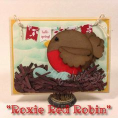 """Please say """"HI!"""" to """"Roxie Red Robin"""", the newest addition to the Suitably Punched Critter Collection. Original artwork by Michelle Suit Blog: disneysuitsme.blogspot.com Online Store: stampinsuitsme.stampinup.net"""