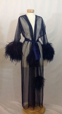 Catherine D'Lish Fabulous Feathers Boudoir Burlesque Stage Costume Robe Navy Ostrich Sheer