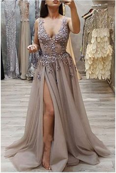 Charming A Line V Neck Open Back High Split Grey Lace Long Beads Long Prom Dresses uk SSM, This dress could be custom made, there are no extra cost to do custom size and color. Long Prom Dresses Uk, Burgundy Homecoming Dresses, Tulle Prom Dress, Slit Dress, Sexy Dresses, Formal Dresses, Bridesmaid Dresses, Party Dress, Beaded Dresses