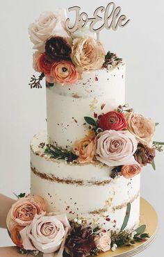 Seminaked Wedding Cake, Pretty Wedding Cakes, Summer Wedding Cakes, Creative Wedding Cakes, Fondant Wedding Cakes, Wedding Cake Rustic, Wedding Cake Designs, Fondant Cakes, Wedding Themes