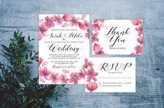 Cherry Wedding Invite. Personalized Printable Cherry Wedding Suite. Spring Wedding. Cherry Wedding. Cherry Blossom Wedding.